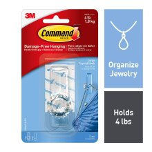 Command Large Crystal Hook, Clear, 1-Hook, 2-Strips, Organize Damage-Free