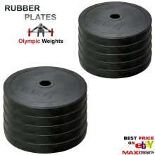 """Weightlifting 2"""" Rubber Olympic Disc 5cm Weights Plates Powerlifting Bar Gym"""