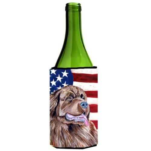 USA American Flag With Newfoundland Wine bottle sleeve Hugger - 24 oz.
