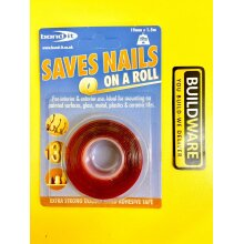 BOND IT Saves Nails On a Roll Extra Strong Double Sided Adhesive Tape 19mm x 1.5