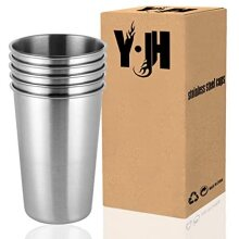 CherryKelly Stainless Steel Cup, Reusable Metal Beer Tumbler, Stackable Drinking Glass, BPA Free Mug, for Camping,Hiking, Outdoor, Indoor Activities