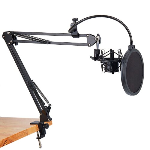 (Black) Microphone Scissor Arm Stand and Table Mounting Clamp with Filter Windscreen Shield & Metal Mount Kit