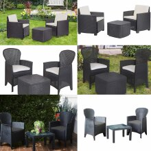 idooka 3 Piece Black Outdoor Garden Patio Set - 2 Chairs 1 Table - Weather Resistant Sun, Rain, Wind, Snow - Easy Assembly Wipe Clean - Stylish Modern