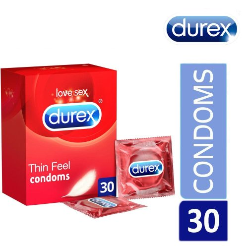 Durex Thin Feel Latex Condoms Transparent & Lubricated Easy-On Shaped Pack Of 30