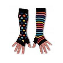 United Oddsocks Long Black Spots Stripes Arm Warmers Fingerless Gloves