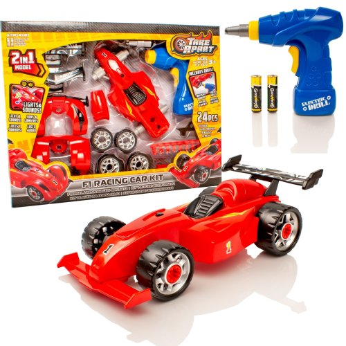 Take Apart Construction Toy Kit - 2 in 1 F1 Toy Racing Car - Build Your Own Car Kit - Lights & Sounds