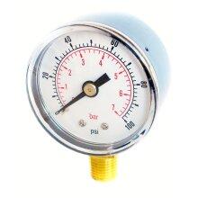 Pressure Gauge 40mm Dial 0/100 PSI  0/7 Bar 1/8 BSPT Bottom Connection