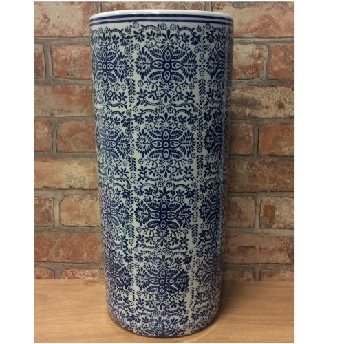"""Chinese Style Blue White Floral Pattern Ceramic Umbrella Stand Stick Holder 18/"""""""