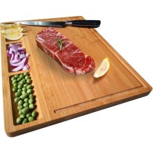 NIUXX Bamboo Cutting Board for Kitchen, Medium Serving Plate with Tray 39 x 27 x 2 cm, Butcher Block for Meat, Vegetables and Bread