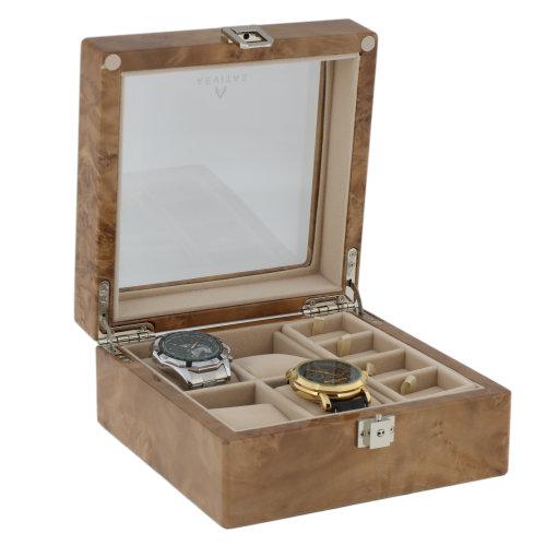 4 Pair Cufflink  4 Piece Watch Box in Light Burl Wood by Aevitas