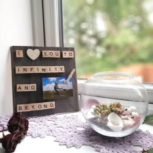 I love you to Infinity and Beyond Wood Photo Frame