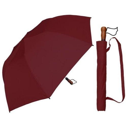 RainStoppers W009BG 58 in. Collapsible Sport, Burgundy Single Canopy Umbrella with Wood Handle, 6 Piece