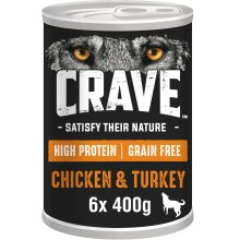 6 x 400g Crave Natural Grain Free Adult Dog Food Tin Chicken & Turkey in Loaf