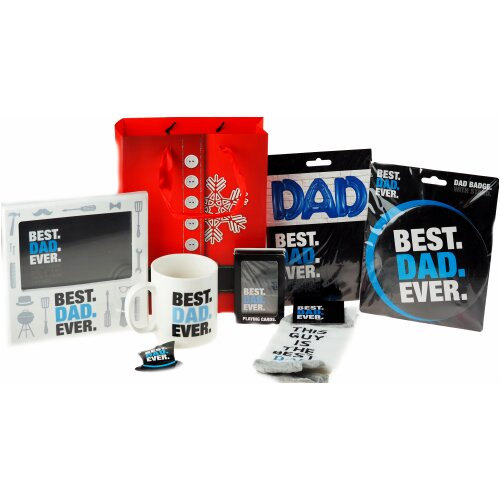 Pre Filled Dad Christmas Gift Bag Set - With Mug, Socks, Photo Frame And More!
