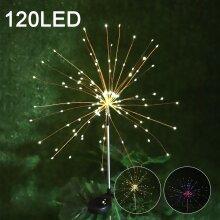 120 LED Solar Powered Firework Starburst Stake Light Warm White