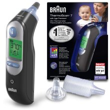 Braun ThermoScan 7 Ear Thermometer with Age Precision - Black Edition