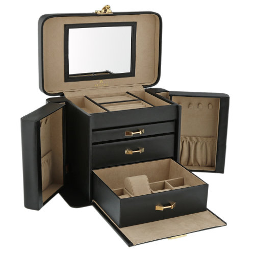 Quality Extra Large Black Bonded Leather Jewellery Box by Aevitas