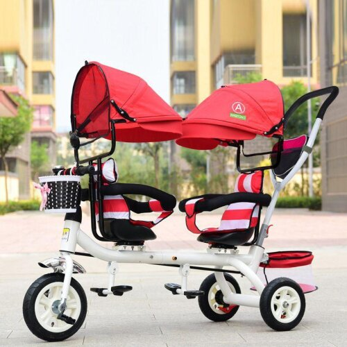 Baby Twin Tricycle, 3 Wheels Double Stroller for Kids, Guardrail Seat Toddler Bicycle Car Child Pram
