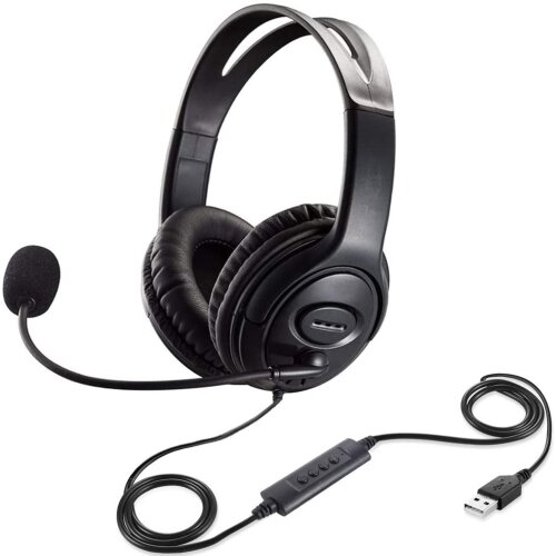 USB Headset with Microphone Noise Cancelling & Audio Controls, USB Wired PC Headphone Super Light & Comfort for Business Conference Calls Softphone Co