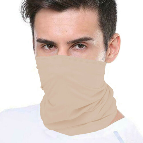(Beige (Double Layer)) Bandana Face Covering Mask Biker Tube Snood Scarf Neck Cover