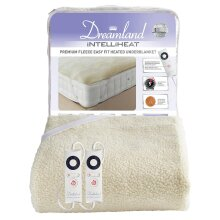 Dreamland Intelliheat Fast Heat Premium Soft Fleece Electric Underblanket, Natural, King Size 160 x 150 cm, 2 Controls