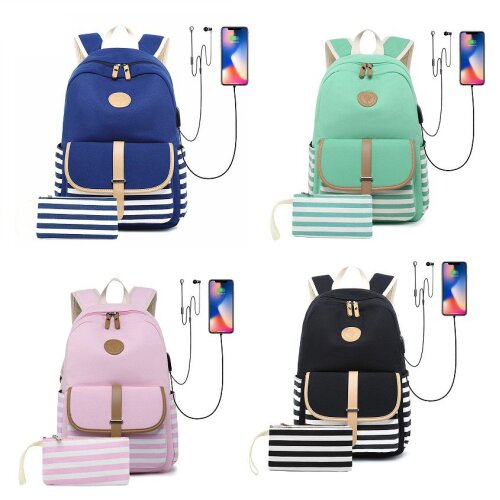 2pcs Canvas Women Backpack USB Laptop Bagpack