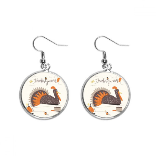 Thanksgiving Day Abstract Turkey Pattern Ear Dangle Silver Drop Earring Jewelry Woman