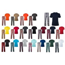 Mens Pyjamas Set Checked Cotton Round Neck T-Shirt