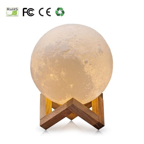 3D Moon Lamp, USB LED Mood Light Magical Lunar Desk Lamp Moonlight Gift, 2 Colors-White & Warm Yellow, Two Tone Touch Sensor with Wooden Holder &...