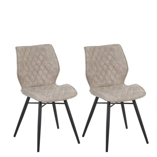Set of 2 Fabric Dining Chairs Brown LISLE