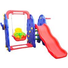 HOMCOM Outdoor Children Playground Swing Chair Slide Basketball Play Toy