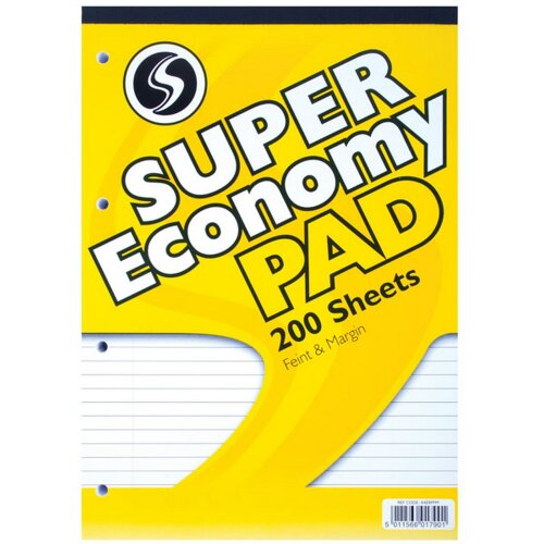 Silvine A4 Super Economy 200 Sheet Refill Pad (Pack Of 3)