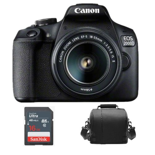 CANON EOS 2000D Black KIT EF-S 18-55mm F3.5-5.6 IS II+Bag+16gb SD card