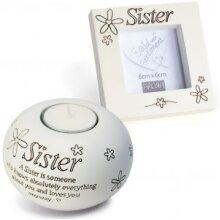 Said with Sentiment Tea Light and Frame Gift Set -Sister