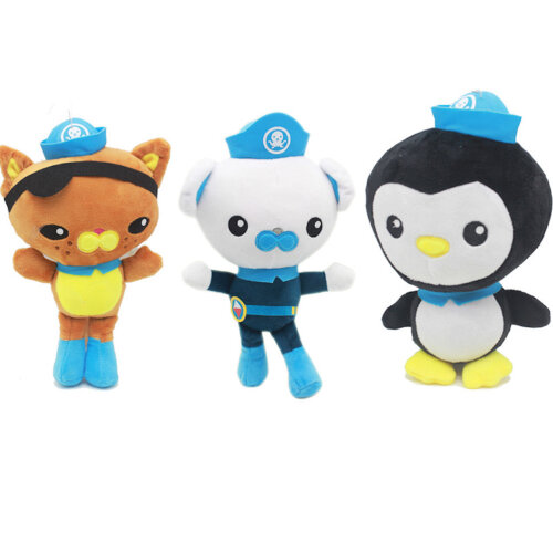 3pcs The Octonauts Plush Toy Barnacles Kwazii Peso Doctor Doll 25cm