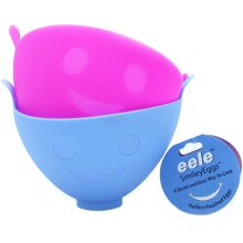 eele Smiley Egg Poacher, Two-Pack, Silicone, Blue/Pink