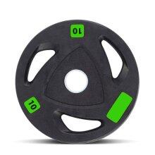 Polyurethane-Coated Olympic Tri-Grip Weight Plates - 2 x 10kg