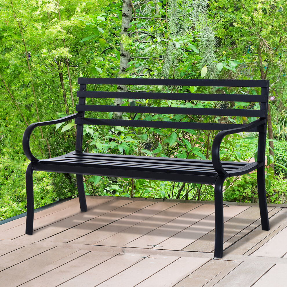 Outsunny 2 Seater Bench Garden Furniture Outdoor Metal ...