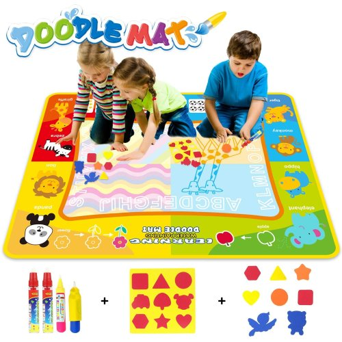jenilily Water Drawing Mat Drawing Doodle Mat 47 in*35in Early Education Learning Toys For Kids Boys Girls Age 2 3 4 5 6+ Years Old (Drawing Mat)