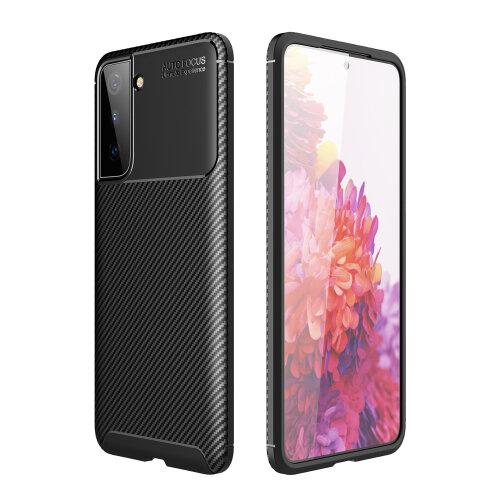 Case for Samsung Galaxy S21 Carbon Fibre TPU Black Back Cover
