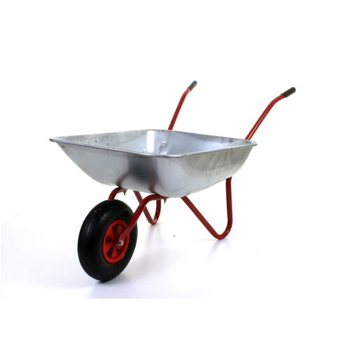 "(65L Wheelbarrow - Red) 65L Metal Heavy Duty Galvanised Wheelbarrow 12"" Pneumatic Inflatable Tyre Garden"