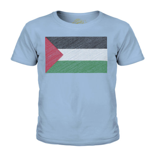 (Sky Blue, 11-12 Years) Candymix - Palestine Scribble Flag - Unisex Kid's T-Shirt