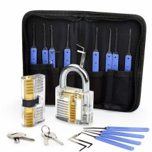 Lock Pick Set, Eventronic 17-Piece Lock Picking Tools with 2 Clear Practice and Training Locks for Lockpicking, Extractor Tool for Beginner and Pro...