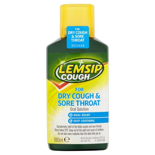 Lemsip Dry Cough and Sore Throat Oral Solution 180 ml