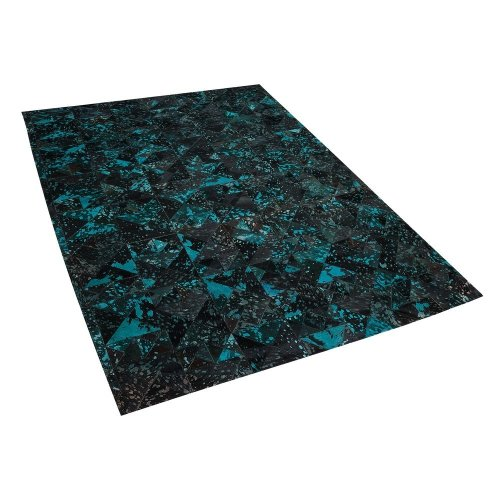 Leather Area Rug 160 x 230 cm Black with Turquoise ATALAN