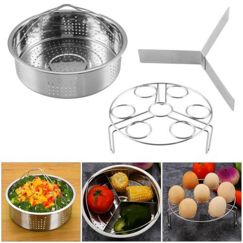 Vegetable Steamer Basket Bowl Cooker Strainer Stainless Folding Mesh