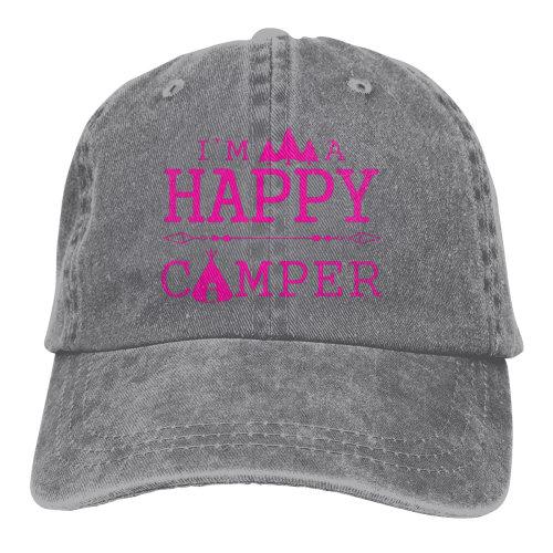 (Gray) Pink I'm A Happy Camper Denim Baseball Caps