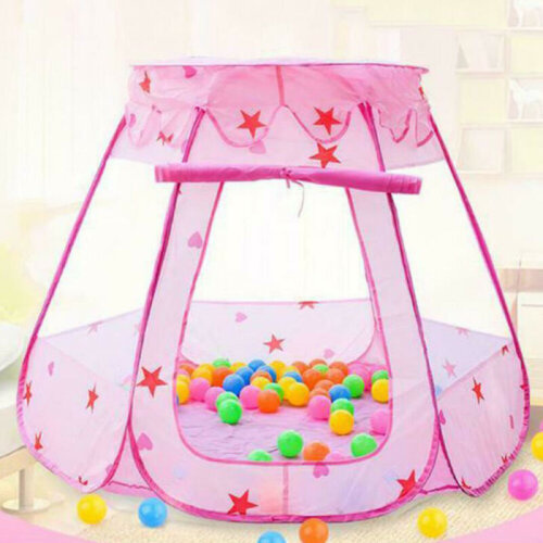 (Pink, 87*110cm) Portable Indoor Kids Baby Children Game Play Toy Tent Ocean Ball Pit Pool Gift