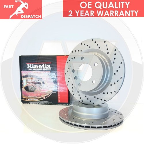 FOR BMW 5 SERIES E60 E61 520d FRONT DRILLED PERFORMANCE BRAKE DISCS PAIR 324mm