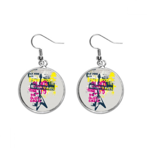 Guitar Pink Yellow Music Instrument Pattern Ear Dangle Silver Drop Earring Jewelry Woman
